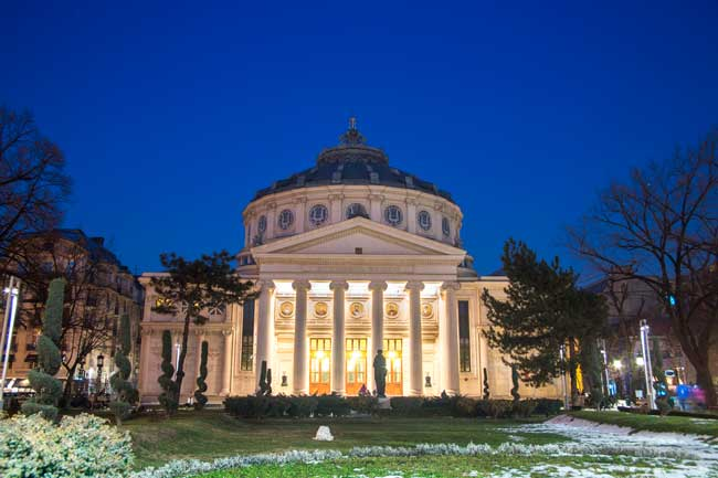 The Romanian Atheneum is a must-see attraction in Bucharest city centre.